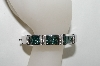 **MBA #76-079  14K White Gold Teal & White Diamond Bangle