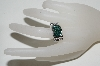 **MBA #76-118  14k White Gold Teal & White Diamond Ring