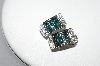 MBA #77-099  14K White Gold Teal & White Diamond Earrings