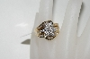 **MBA #76-041  10K Yellow Gold Center Flower Diamond Ring