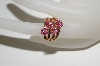 **MBA #76-006  14K Rose Gold Ruby 4 Flower Ring