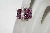 **MBA #76-022  18K White Gold Designer Pink Sapphire  & Diamond Buckle Ring