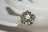 MBA #76-019  14K White Gold Cognac & White Diamond Flower Ring