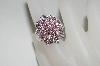 **MBA #76-028  14K White Gold Pink Sapphire & Diamond Flower Ring