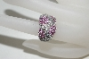 **MBA #76-045  14K White Gold Diamond & Pink Sapphire 3 Flower Ring
