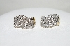 **MBA #77-002  14K Yellow Gold 1.50 Ct Swirl Pattern Diamond Earrings