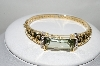 **MBA #77-128  14K Yellow Gold Mint Green Quartz & Diamond Bangle