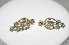 **MBA #77-124  14K Yellow Gold 5 Flower Blue & White Diamond Earrings