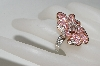 **MBA #77-077    14K Two Tone Pink Sapphire & Diamond Flower Ring