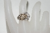 "**MBA #77-018    ""14K White Gold Cognac & White Diamond Buckle Ring"
