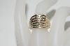 **MBA #77-037    14K Yellow Gold Concave Style Baguette & Round Cut Diamond Ring