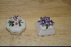 "**Set Of 2 ""SIMA"" Made In Italy Porcelian Flower Mini Boxes"