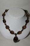 "**MBA #70-7966  ""14K Yellow Gold  Chuncky Smokey Quartz 19"" Necklace"
