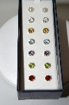 "+MBA #78-089  Sterling Set Of 7 "" Gemstone Stud Earrings"" Boxed"