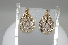 **MBA #78-007  14K Tri Colored Gold Teardrop Shaped Diamond Earrings