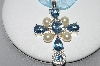 **MBA #78-234   Platinum Plated Sterling Pearl & Gemstone Cross With Ribbon