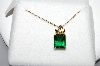 "**MBA #78-028  14K Yellow & Rose Black Hills Gold Square Cut Helenite Pendant With 18"" Chain"