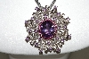 "** MBA #78-251   Platinum Plated Sterling Multi Gemstone Pin/Pendant With Fancy 18"" Chain"