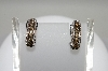 **MBA #78-010  14K White Gold Chocolate & White Diamond Half Hoop Earrings