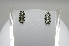 **MBA #78-013  14K White Gold 3 Flower Green & White Diamond Earrings