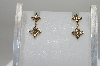 MBA #78-022   14k  Yellow Gold  Flower Dangle Champagne Earrings