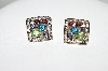 **MBA #78-265   Platinum Plated Sterling Square Multi Gemstone Earrings