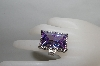 **MBA #78-072   Rhodium Over Sterling Oversized Lavender CZ Ring
