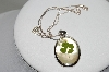 "**MBA #78-058   Sterling Mother Of Pearl Glass Incased 4 Leaf Colver Pendant With 18"" Chain"