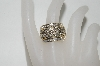"**MBA #77-014    ""14k Yellow Gold  Large Weave look Diamond Ring"