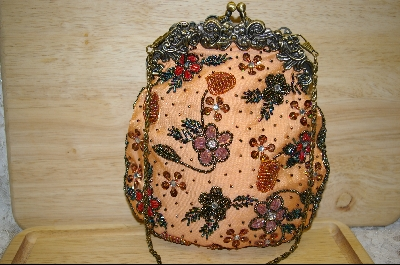"MBA #POS   ""1980's Pale Orange Satin Vintage Look Hand Beaded Purse"