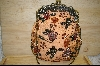 "MBA #POS   ""Pale Orange Satin Vintage Look Hand Beaded Purse"