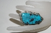 "**MBA #78-128    "" Artist Signed ""Charles Johnson"" Fancy Shaped Large Blue Turquoise Ring"