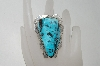 "**MBA #78-202  Artist Signed ""Charles Johnson"" Fancy Shaped Large Blue Turquoise Ring"