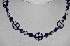 **MBA #78-154   14K Gold Plated Italian Blue Floral Murano Glass Bead Necklace""