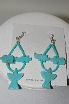 **MBA #78-191   Sterling Hand Carved Animal Bead Blue Turquoise Earrings
