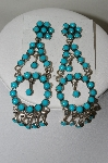 **MBA #78-162  Sterling Hand Made Large Blue Turquoise Dangle Earrings