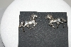 "**MBA #78-177   Sterling Artist Signed ""GS"" Horse Earrings"