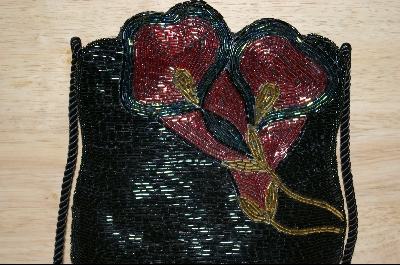 "MBA #HBBFP    ""Hand Beaded Black Floral Purse"