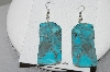 "**MBA #78-167   Sterling Hand Made ""Slice Style"" Blue Turquoise Earrings"