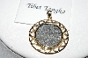 **MBA #78-183  14k Yellow  Gold/Silver 200 Year Old Tibet Tangka Coin Pendant