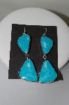 **MBA #78-163  Sterling Hand Made Large Blue Turquoise Earrings