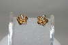 **MBA #78-002  One Of A Kind & Custom Made Diamond Rose Earrings In 14k Yellow Gold