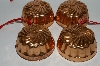 Set Of 4 Vintage Round Copper Jello Molds