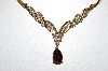 **MBA #79-004  14k Yellow Gold One Of A Kind Pear Cut Pink Tourmaline & Diamond Necklace