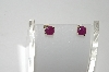 **MBA #80-155  14K Yellow Gold Opaque Ruby Stud Earrings