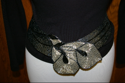 "MBA #HBSMB   ""Hand Beaded Matalic Grey Floral Belt"