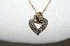 "**MBA #80-053  ""14K Yellow Gold Fancy Heart Diamond Pendant With 18"" Chain"