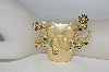 **MBA #80-146  TJW Gold Tone Cat In Flower Pot Pin