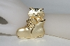 **MBA #80-149  TJW Gold Tone Cat In A Shoe Pin