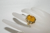 "**MBA #81-142    ""14K Yellow Gold ""Tagliamonte"" Venetion Glass Hand Carved Ring"